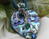 Blue Abalone Necklace ~ Abalone Heart Necklace ~ Wire Wrapped Heart Pendant ~ Moody Blue Pendant ~ Blue Heart Pendant ~ Heart Jewelry