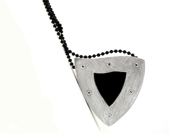 Sterling Silver and Black Resin Riveted Pendant Necklace - Concise
