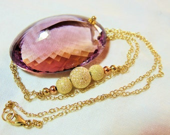 Natural Ametrine  Purple Bi-color Faceted  Pendant (108 ct)  14K/22K Solid Yellow Gold, Rose Gold Necklace
