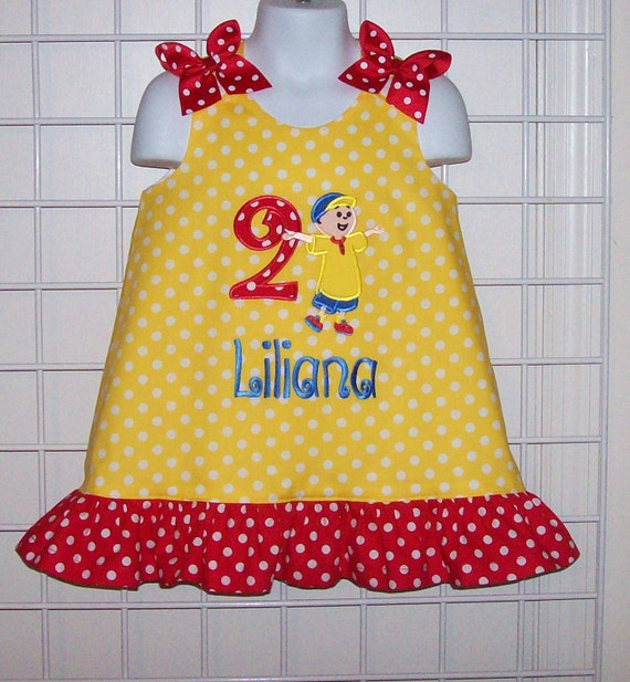 Yellow Polka Dot Caillou Applique Dress with Red Polka Dot Ruffle BIRTHDAY Party  - Add number option - vacation dress - school dress