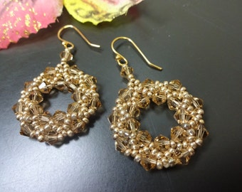 GOLD SPARKLE Earrings - Swarowski crystal circles - 14K gold plated earhooks