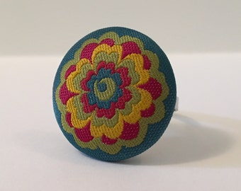 Flora - Fabric Button Ring