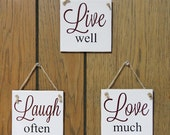 LIVE well, LAUGH often, LOVE much hanging wall tiles
