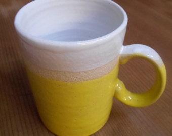 Wheel thrown Stoneware Ceramic sun yellow Mug.