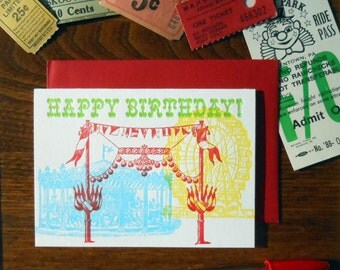 letterpress carnival ferris wheel, carousel happy birthday greeting card 4 color fun & festive