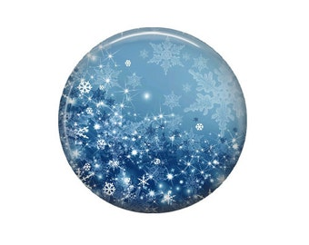 Frozen Snowflakes - Glass Image Cabochon - Choice of 12mm, 16mm, 20mm, 25mm and 30mm Round