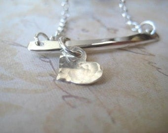 Heart Necklace, Sterling Silver Bar, Tiny Heart Charm, Heart Slider, Rolo Chain, Sliding Charm, Womens Jewelry, candies64, Minimalist