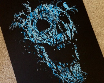 Halloween Horror Skull Glow In The Dark 18x24 Silk Screen Poster Decoration Scary Print