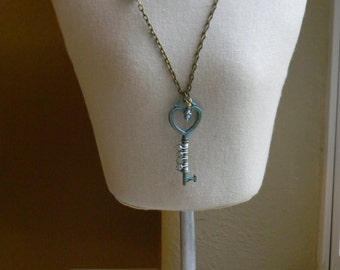 Key Necklace ~ Patina Key ~ Skeleton Key Necklace ~ Painted Key ~ Shabby Chic ~ Swarovski Crystal ~ Mothers Day ~ Wedding ~ Bridesmaid