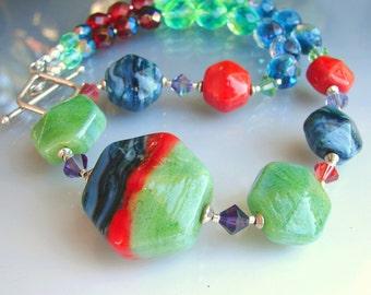 BLADE RUNNER. Lampwork Glass  Beads. Handmade Art, Beaded Jewelry. Necklace, pendant. Made in USA. Openstudio. Openstudiobeads.