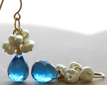 SALE Luna Earrings, Choose Your Color Gemstone, Blue Sapphire Quartz, Natural Keshi Pearls on 14K Gold Fill Ear Wires