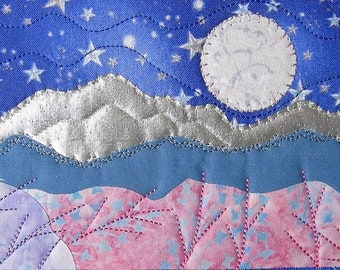 Fabric Postcard, Moon and Stars Quilted Fabric Postcard, Landscape Mountain Postcard, Fiber Art, Greeting Card, Romantic Night