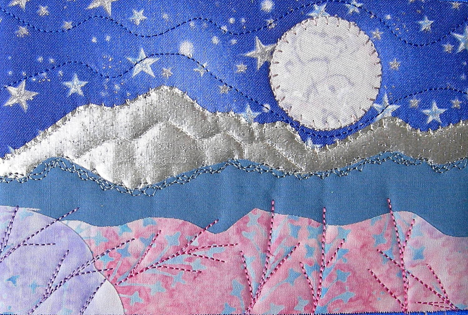 Fabric postcard moon and stars quilted fabric postcard for Moon and stars fabric