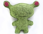 Green Alien - Recycled Wool Sweater Plush Toy