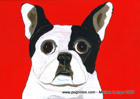 Pied French Bulldog Note Cards by Melissa Langer
