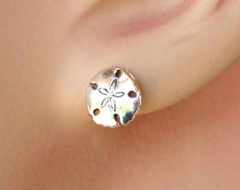 Earrings Sand Dollar Sterling Silver Minimal Ear Studs no. 3476