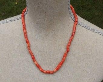 Bamboo coral necklace salmon tone barrel small nuggets
