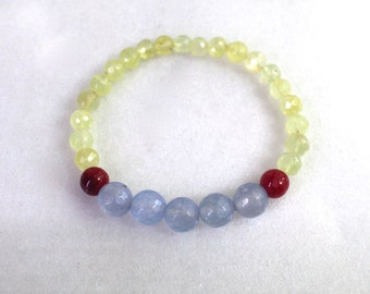 Little Luxe Simple Stacking Stretch Bracelet in Chalcedony, Ruby and Prehnite...