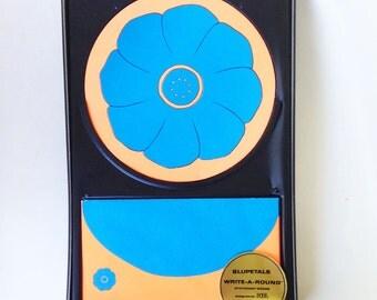 Vintage 60s Stationery Round Paper Psychedelic Flower Neon Envelopes Blupetals Design Bobb