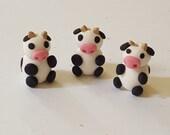 Cow Beads/ Set Of Three/ Polymer Clay/ Handmade/ Jewelry Supplies/ Beads/ Cows/ Animal Beads/ Crafts/ Beading