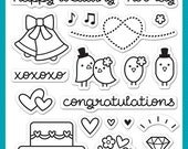Lawn Fawn Clear Photopolymer Rubber Stamp set- happy wedding