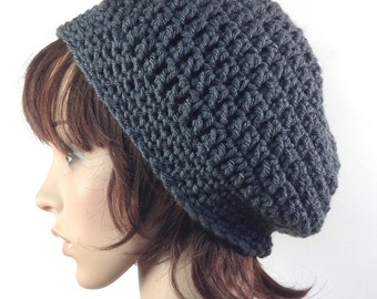 Slouchy Beanie in Charcoal Gray - Grey Hat