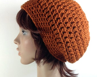 Slouchy Beanie Hat in Rust Orange