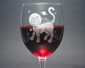 Astronaut Cat Wine Glass - 12oz cute outer space kitty - etched stemware