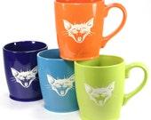 4 Laughing Cat Mugs - Sky Blue, Navy Blue, Lime Green & Tangerine Orange coffee cups