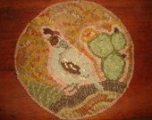 Quail chair pad rug hooking pattern on primitive linen