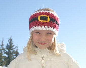 CROCHET PATTERN PDF - Santa Earwarmer - All sizes from Toddler to Adult Large