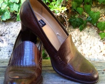 Vintage 70s Style High Heel Loafers 7.5 Brown epsteam