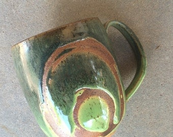 Green meadow mug, coffee mug, tea cup, handmade pottery mug