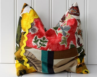 Lavender Rosemary and Buckwheat Hull Dream Pillow - Extra Large Sachet - Vintage Fabrics - Barkcloth - Bright Colors - Red Yellow