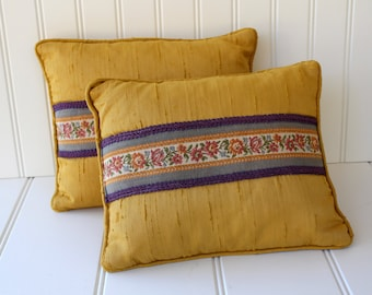 Silk Shantung and Feather Pillows - Decor Pillows - Yellow Purple - Vintage Accent Pillows - Pair