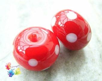 Lampwork Beads Light Red Polka Dot Pair