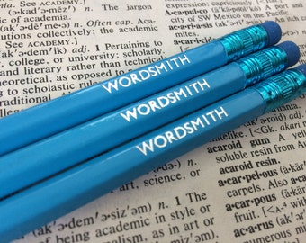 Wordsmith Hand Stamped Pencils - Set of 3 in a choice of colours