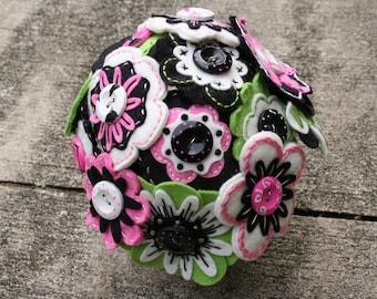 Felt Flower Bouquet Clay Pot