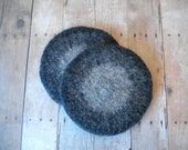 Round  Felted  Wool  Coasters, Set of Two, Handmade, Fulled, Gray