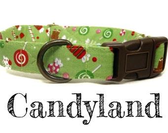 "Green Candy Gumdrop Gingerbread Man Xmas Christmas Dog Collar - Organic Cotton - Antique Brass Hardware - ""Candyland"""