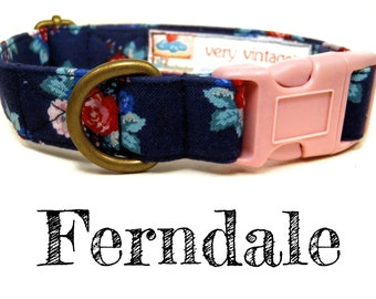 """Vintage Dog Collar - Floral Roses Dog Collar - Girl Dog Collar - Shabby Chic Dog Collar - Antique Brass Hardware - """"Ferndale"""""""