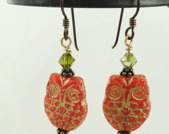 Autumn Owl Glass Earrings - Ready to Ship