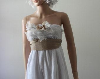 Fairy Wedding Dress Boho Beach Bridal Gown Short Funky Floaty Rustic Wedding Dress Reception Dress Vow Renewal Gown Island Wedding