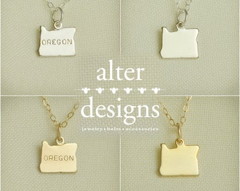 Oregon Necklace, Oregon State Necklace, University of Oregon, Gold or Silver, State of Oregon, Oregon Charm, Best Friends Long Distance, BFF