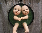 Two Heads are Better than One - Upcycled  Doll Wall Plaque