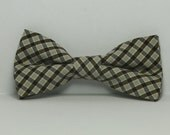 Brown and Tan Plaid Boy's Bow tie, Toddler, Baby, Boy, Teen Bowtie