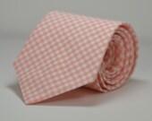 Peach Necktie, Peach Gingham Tie, Coral Necktie, Wedding, Custom Necktie, Cotton Necktie, Groomsmen Tie