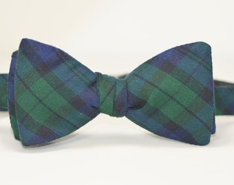 Mens Bowtie, Freestyle Men's Bow Tie, Navy and Green Tartan Plaid Bow Tie, Blackwatch Plaid Tie