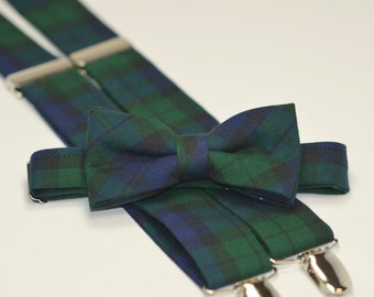 Boy's Bow Tie and Suspender Set - Boy's Christmas Outfit - Blackwatch Plaid - Navy and Green Tartan