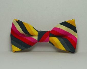 Boy's Bow tie, Gray Striped Bowtie, Hot Pink, Mustard and Gray Bowtie, Toddler, Baby, Boy, Teen Bowtie,
